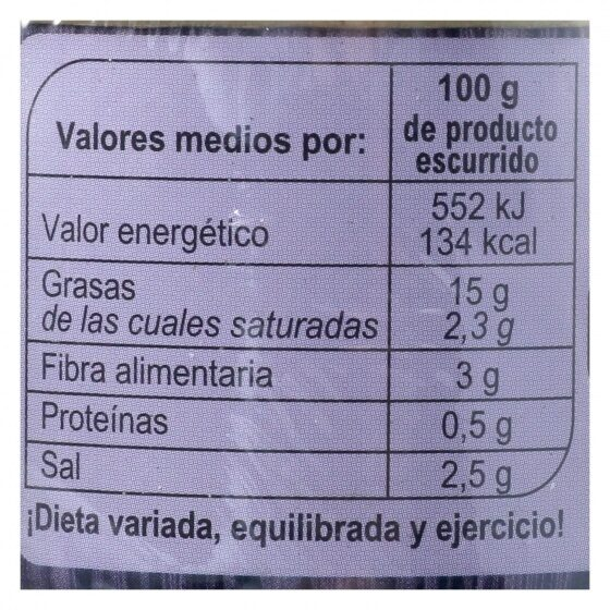 Aceituna negra s/hueso - Nutrition facts - es