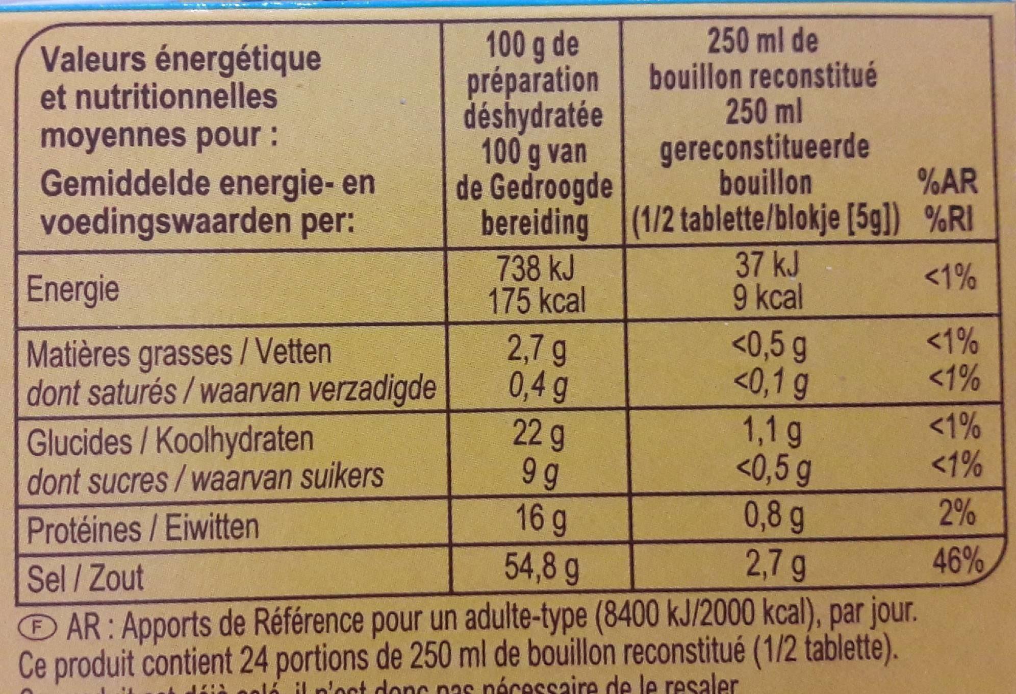 Bouillon Goût boeuf Dégraissé* - Informació nutricional - fr