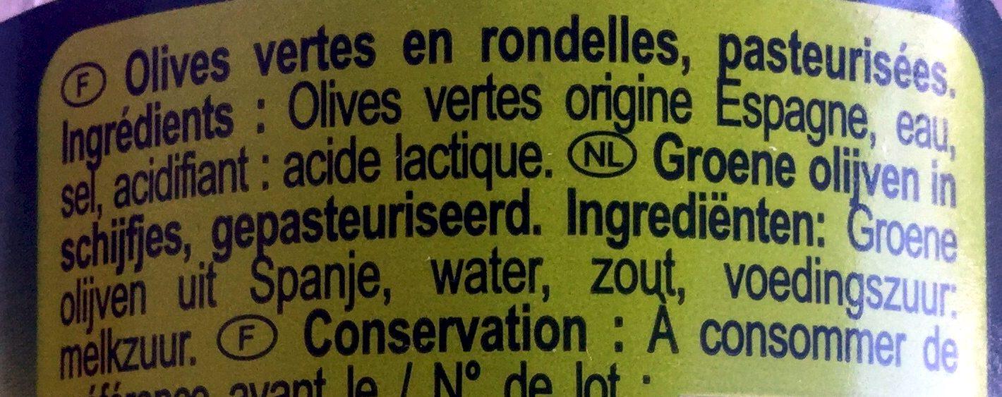 Olives vertes en rondelles - Ingrediënten