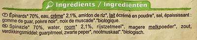 Épinards hachés à la crème - Ingrédients - fr