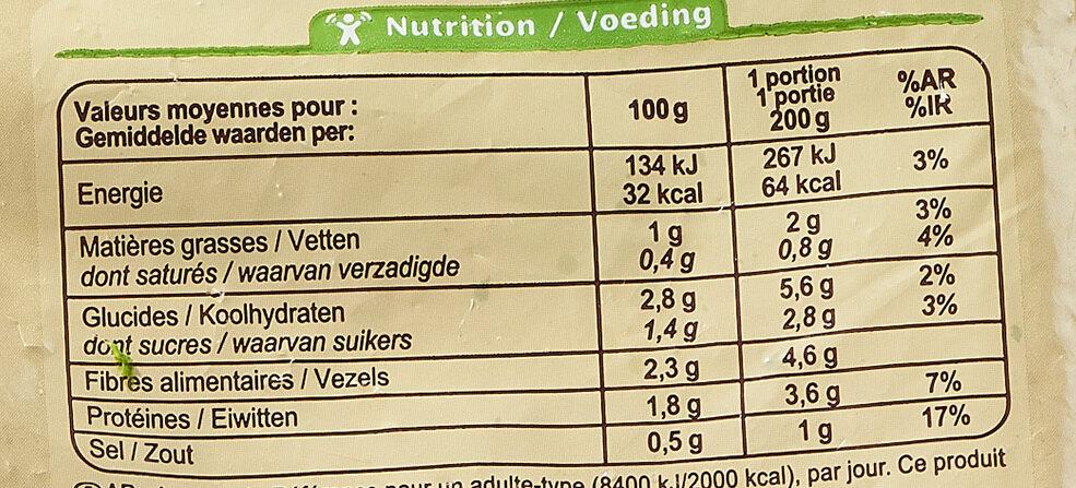 Épinards hachés à la crème - Informations nutritionnelles - fr
