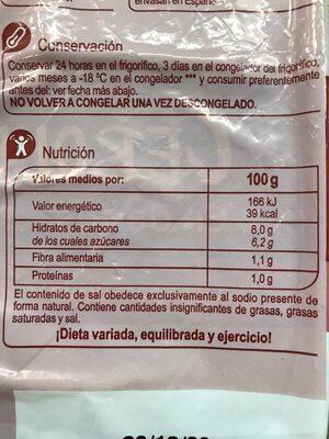 Cebollas en dados - Información nutricional