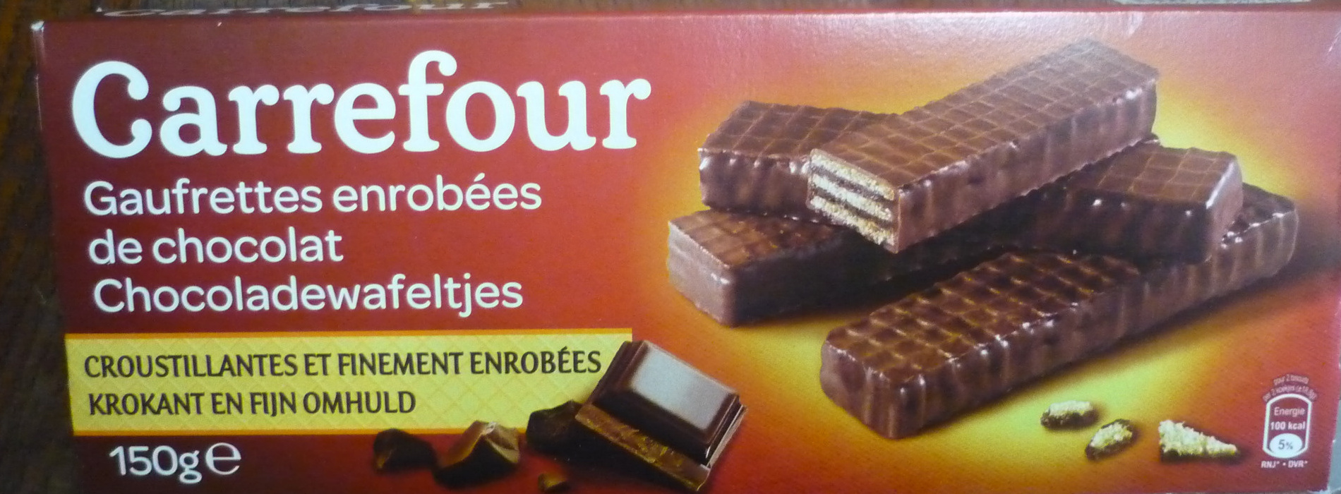gaufrettes enrob es de chocolat carrefour 150 g 16 biscuits. Black Bedroom Furniture Sets. Home Design Ideas