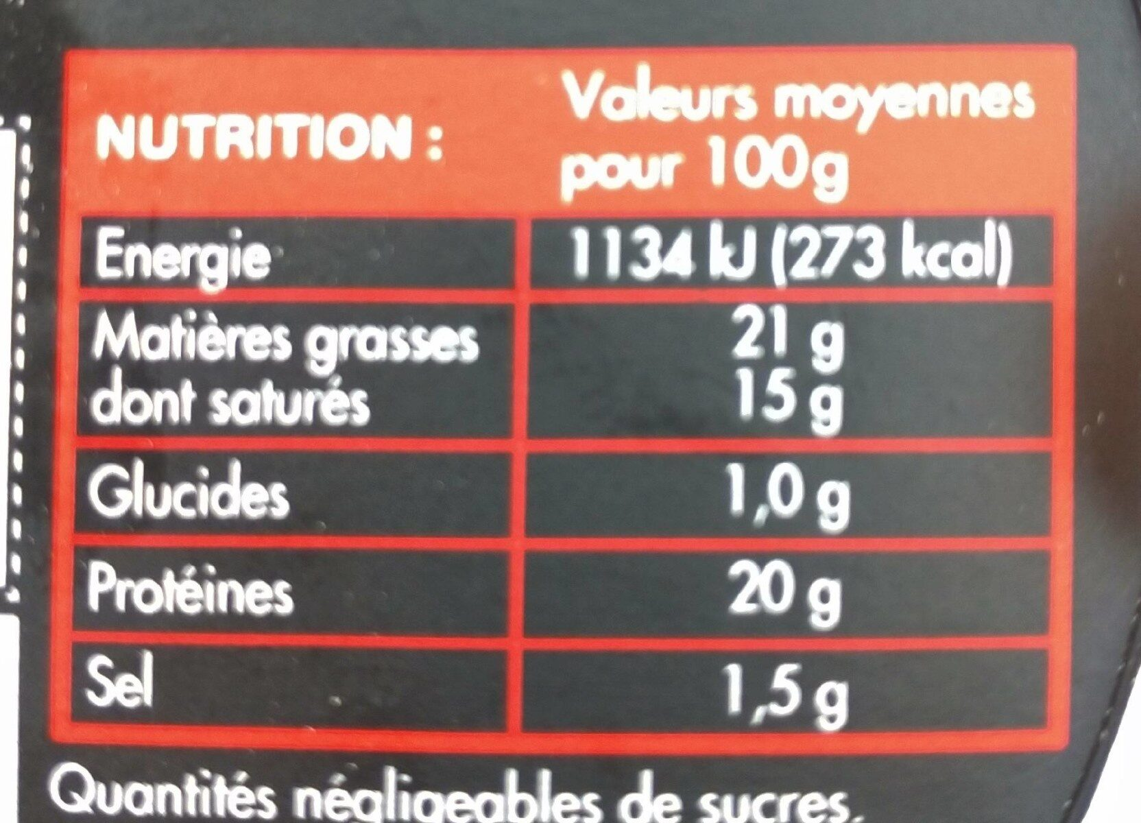 Camembert portions - Valori nutrizionali - fr