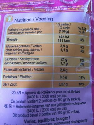 Coquillettes au beurre - Información nutricional
