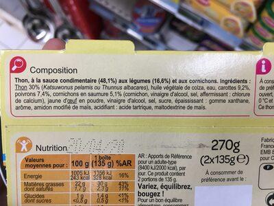 Mélange au thon et petits légumes à la sauce façon Mayo - Ingrédients - fr