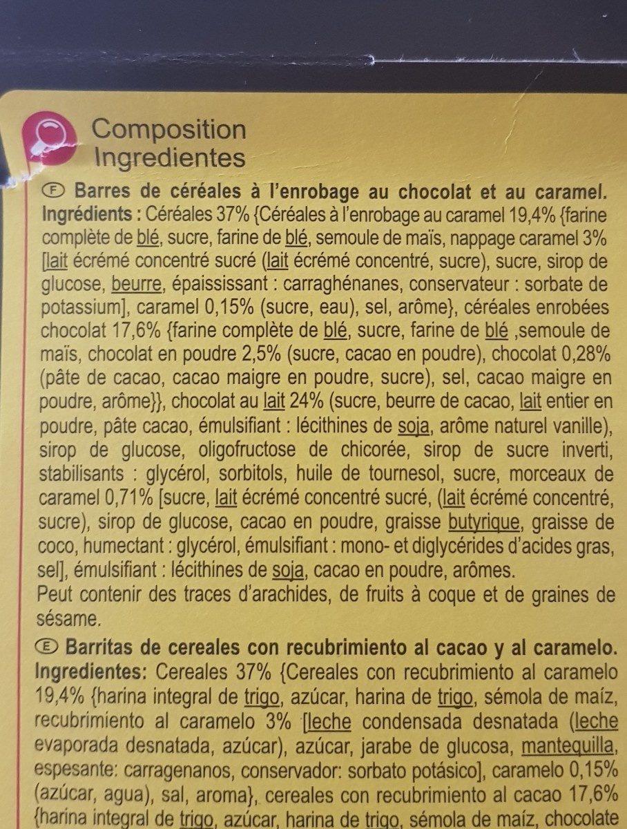 Barres Céréalières Au Chocolat Et Au Caramel, Fusion - Ingrédients