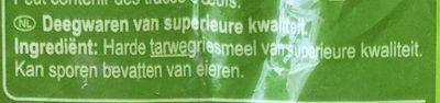 Pasta Coquillettes - Ingrediënten - nl