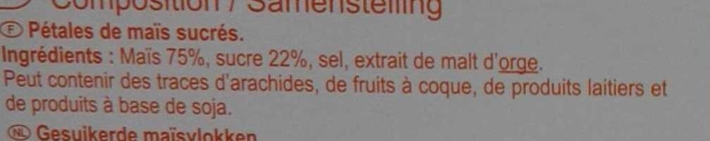 Pétales de maïs sucrés - Ingrédients