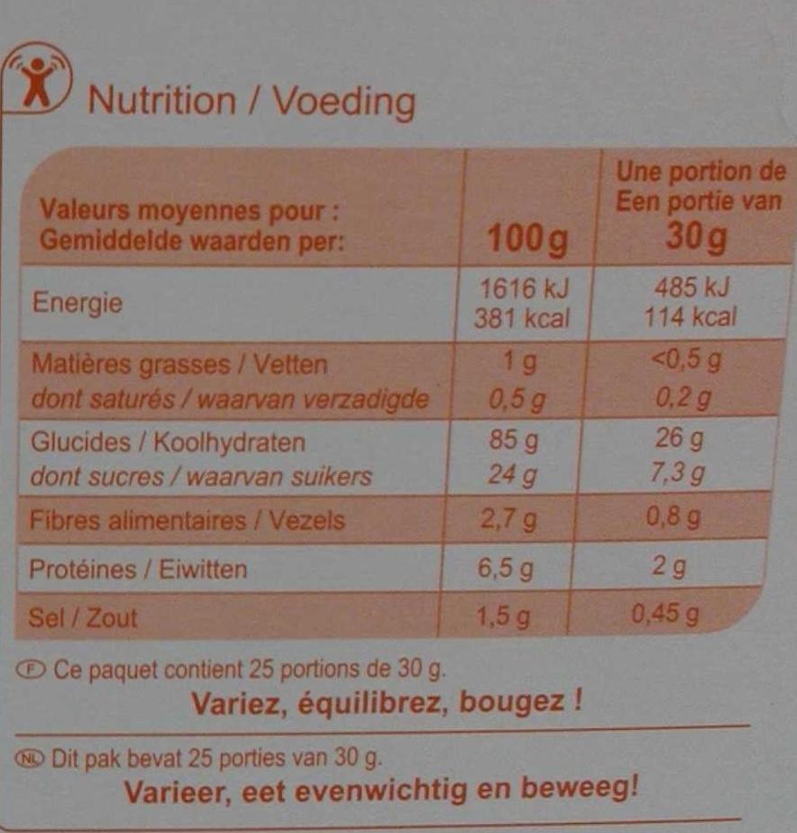 Pétales de maïs sucrés - Informations nutritionnelles
