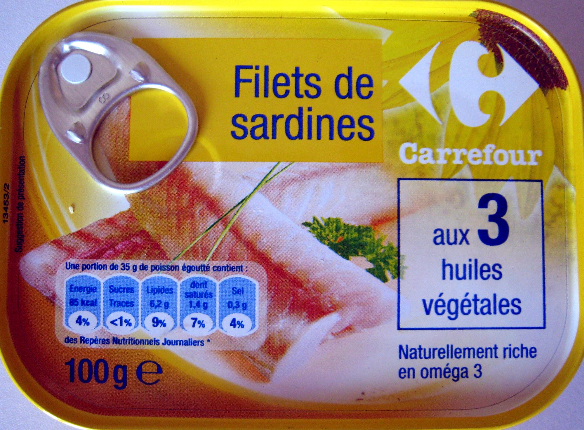 filets de sardines aux 3 huiles v g tales carrefour 100 g. Black Bedroom Furniture Sets. Home Design Ideas