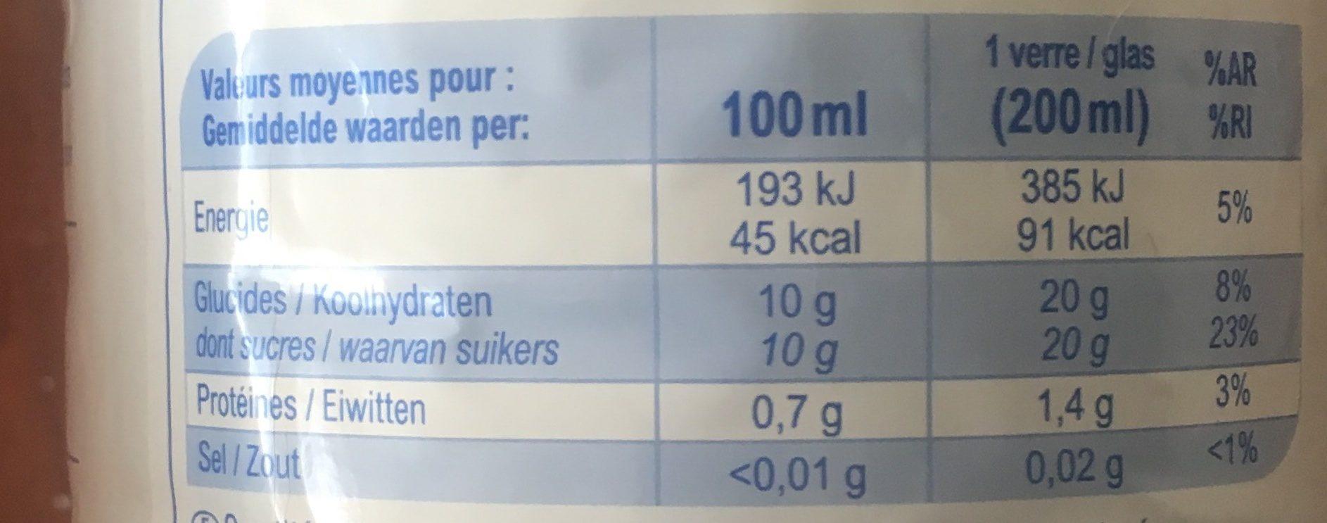 Orange100% Fruit Pressé - Voedingswaarden
