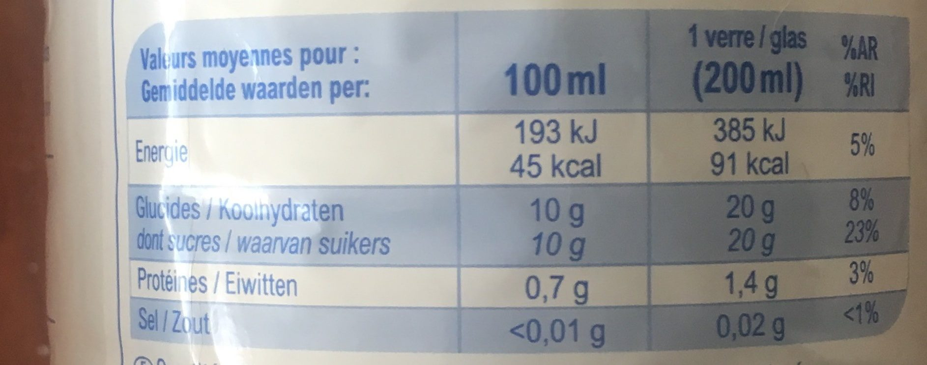 Orange100% Fruit Pressé - Voedingswaarden - fr