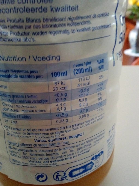 Nectar orange - Voedingswaarden - fr