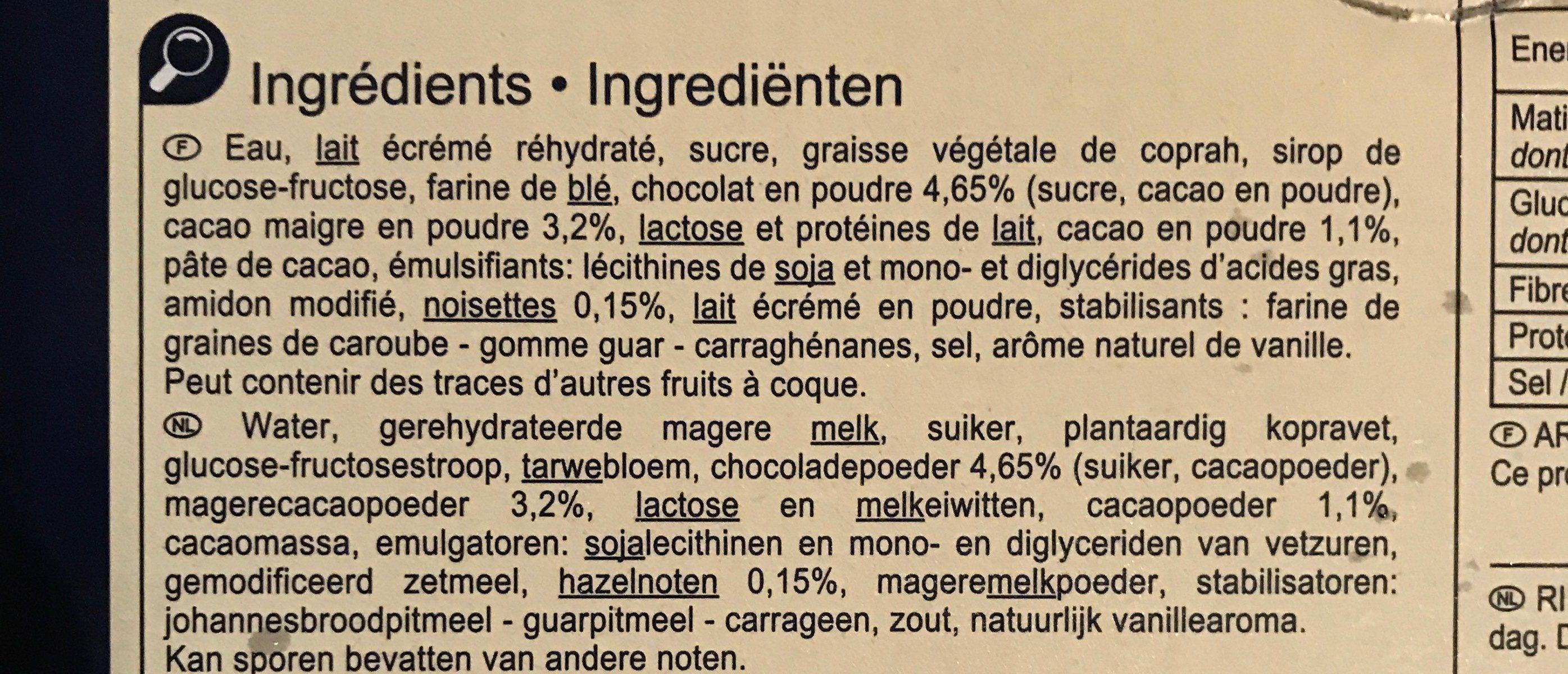 Chocolat avec sauce au chocolat - Ingrédients - fr