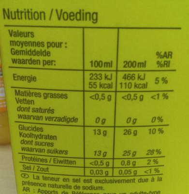 Ananas Costa Rica, 100 % Pur jus pressé - Voedingswaarden - fr