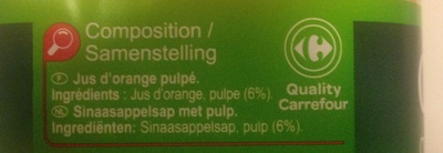 Orange, 100 % Pur Fruit Pressé - Ingrediënten