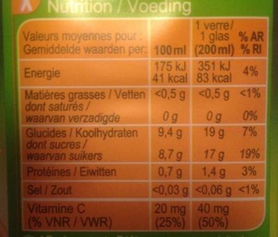 Orange, 100 % Pur Fruit Pressé - Voedingswaarden