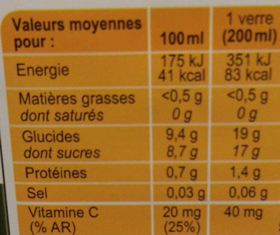 PUR JUS Orange pressé du Brésil - Informations nutritionnelles - fr