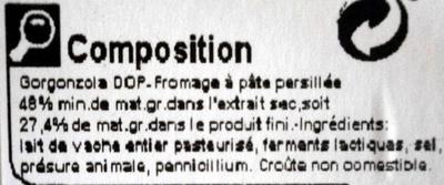 Gorgonzola AOP (27,4 % MG) - 150 g -Carrefour - Ingrédients - fr
