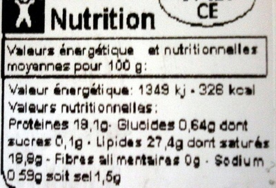 Gorgonzola AOP (27,4 % MG) - 150 g -Carrefour - Informations nutritionnelles