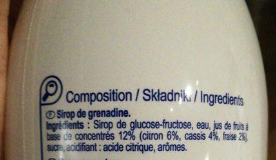 Sirop  grenadine - Składniki - fr
