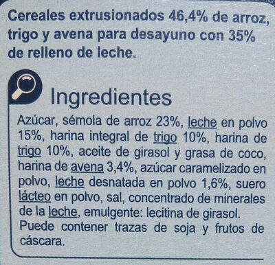 X'trem leche - Ingredients - es