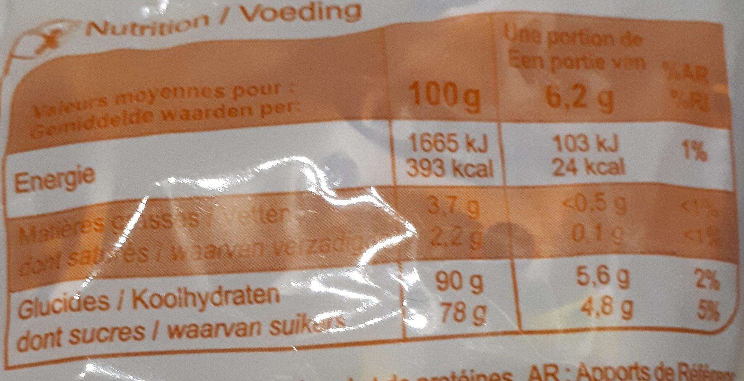 Bonbons tendres Saveurs fruits - Nutrition facts - fr