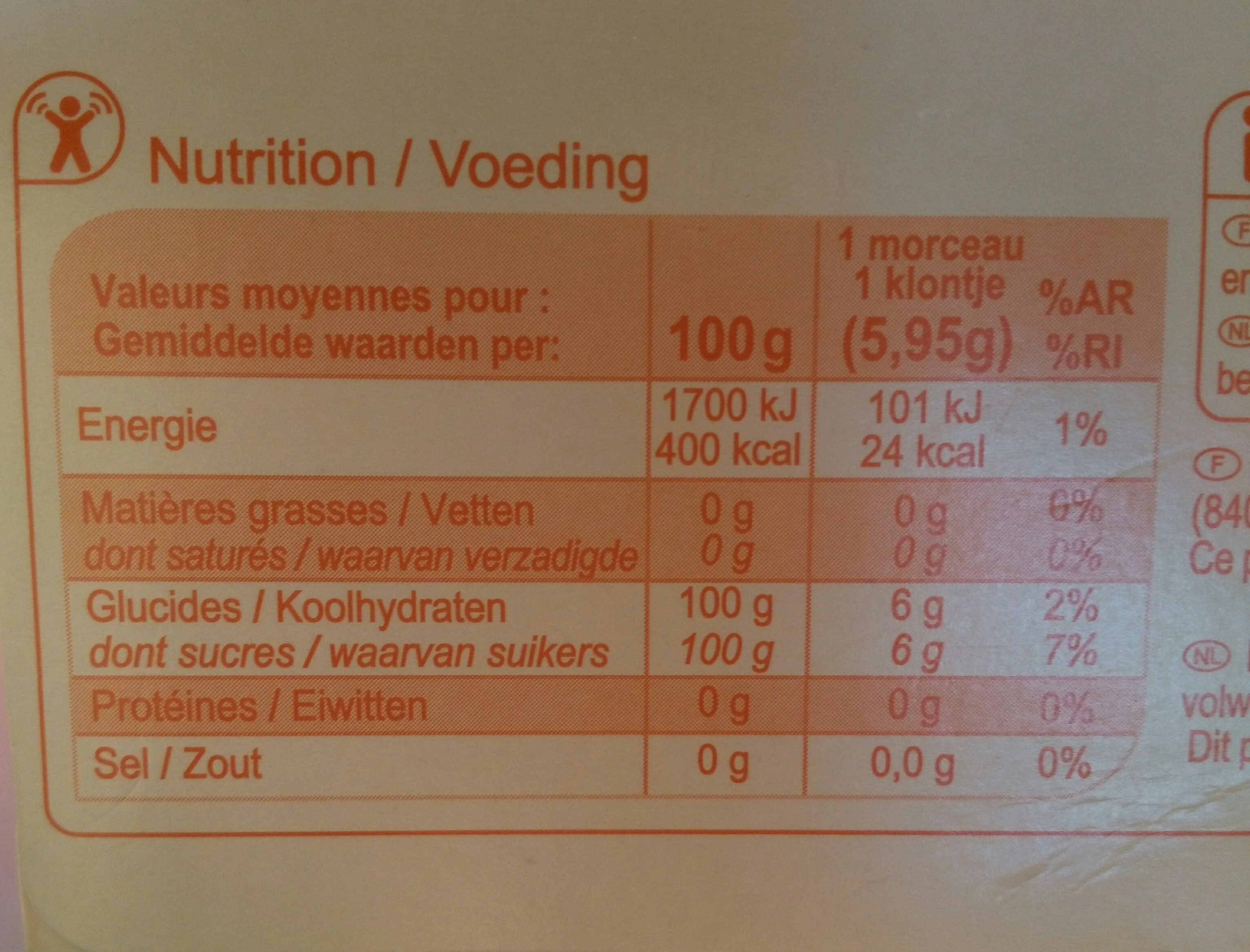 Sucre en morceaux N°4 - 1 kg - Informations nutritionnelles - fr