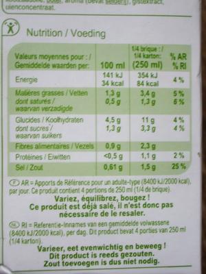 Velouté de légumes variés - Valori nutrizionali - fr
