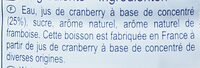 Boisson Saveur Cranberry - Ingredients