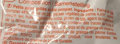 Petits pains grillés au blé complet - Ingrédients - fr