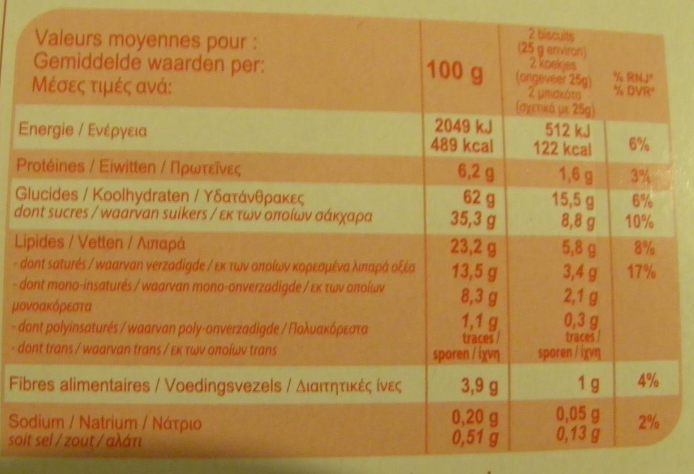 Biscuits tablette chocolat noir - Informations nutritionnelles