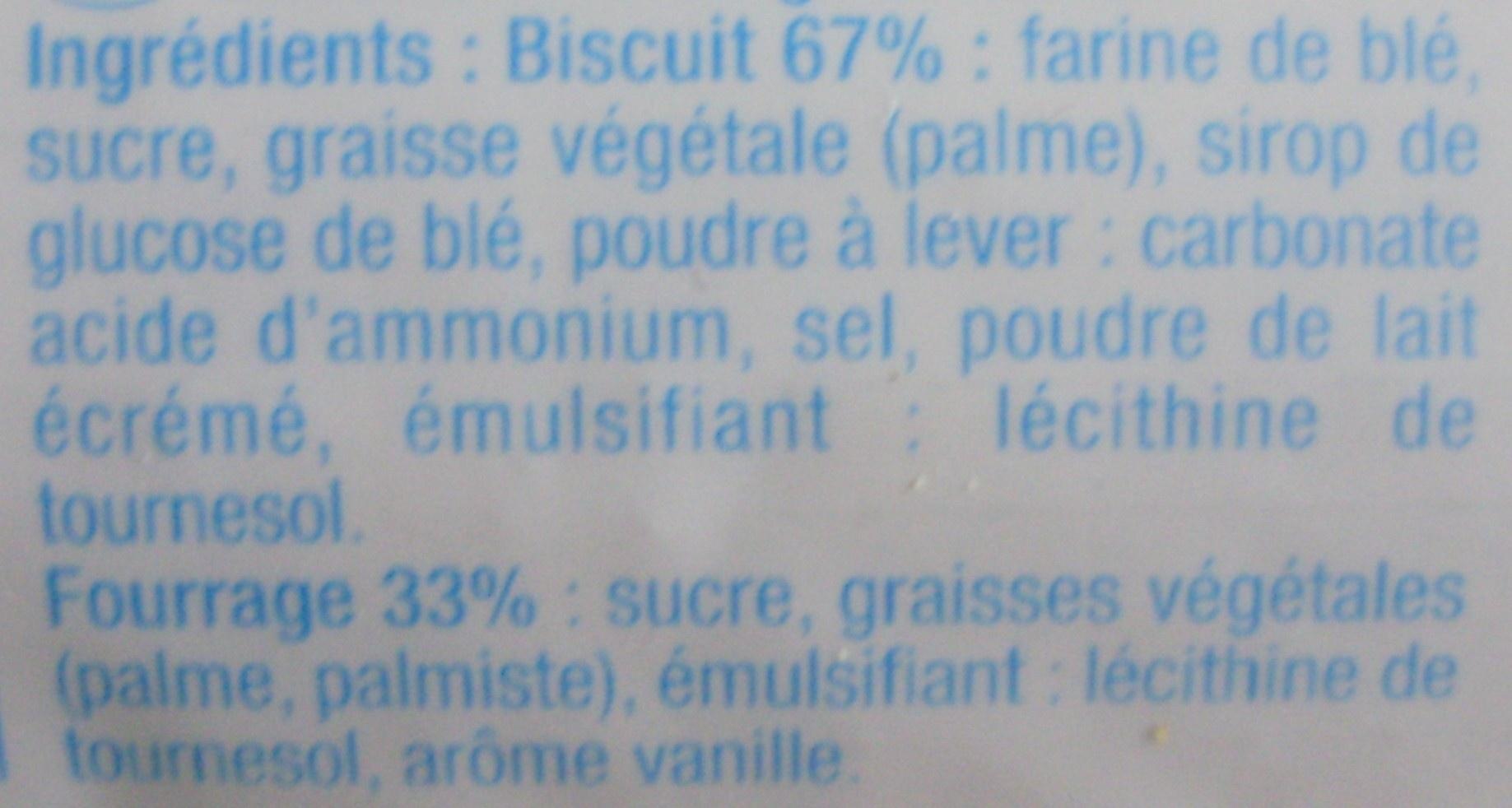 Fourrés goût vanille - Składniki - fr