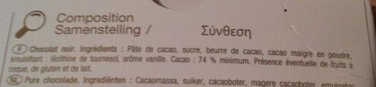 chocolat noir 74% - Ingrediënten