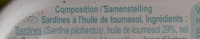 Sardines à l'huile de tournesol (Lot de 3 boîtes 1/4) - Ingredienti - fr
