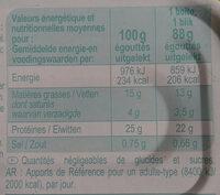 Sardines à l'huile de tournesol (Lot de 3 boîtes 1/4) - Valori nutrizionali - fr