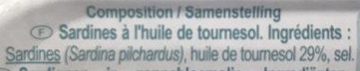Sardines à l'Huile de Tournesol (pack de 2) - Ingredients