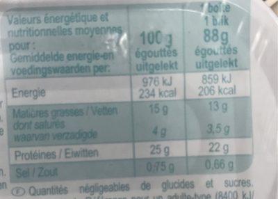 Sardines à l'Huile de Tournesol (pack de 2) - Nutrition facts