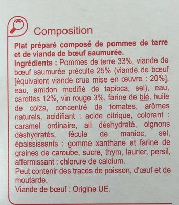 Bœuf bourguignon et ses pommes de terre - Ingrédients - fr
