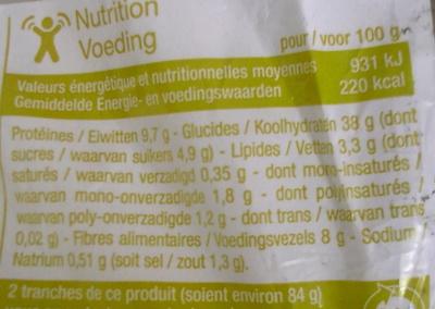 Pain de mie Sandwich complet - Valori nutrizionali - fr