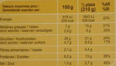 Pizza Vesuvio cuite au feu de bois - Informations nutritionnelles