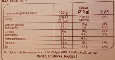 Pizza Vesuvio cuite au feu de bois - Informations nutritionnelles - fr