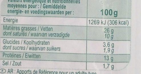 Pate de campagne, qualite superieure - Nutrition facts