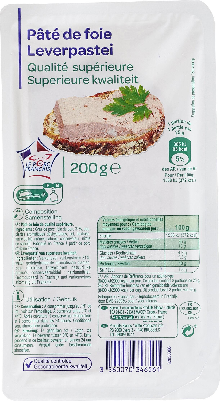 Pâté de foie de porc Qualité Supérieure - Produit - fr