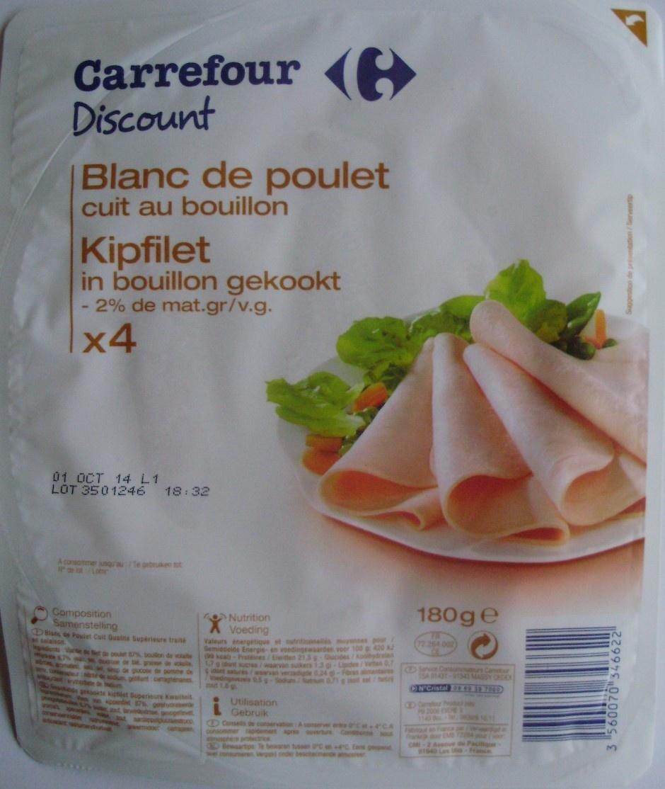 Blanc de poulet cuit au bouillon x 4 - Produit - fr