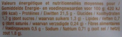 Blanc de poulet cuit au bouillon x 4 - Informations nutritionnelles - fr