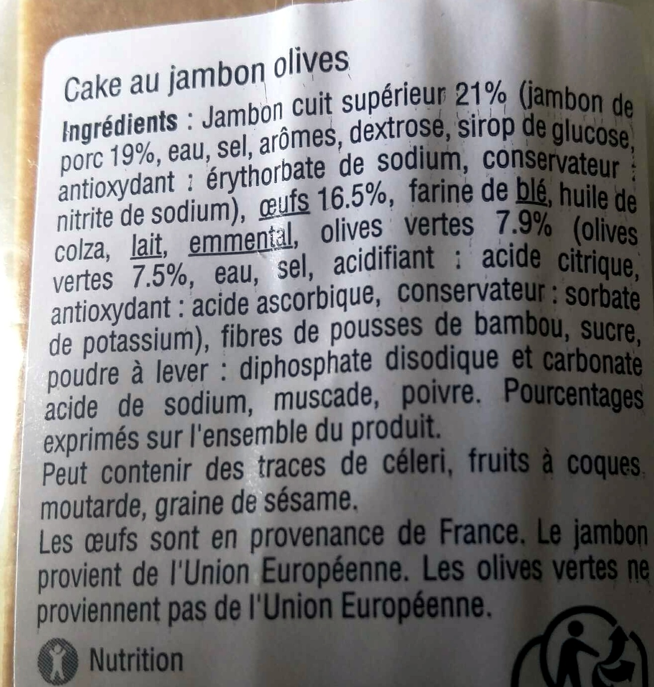 Cake Jambon Olives - Ingredients