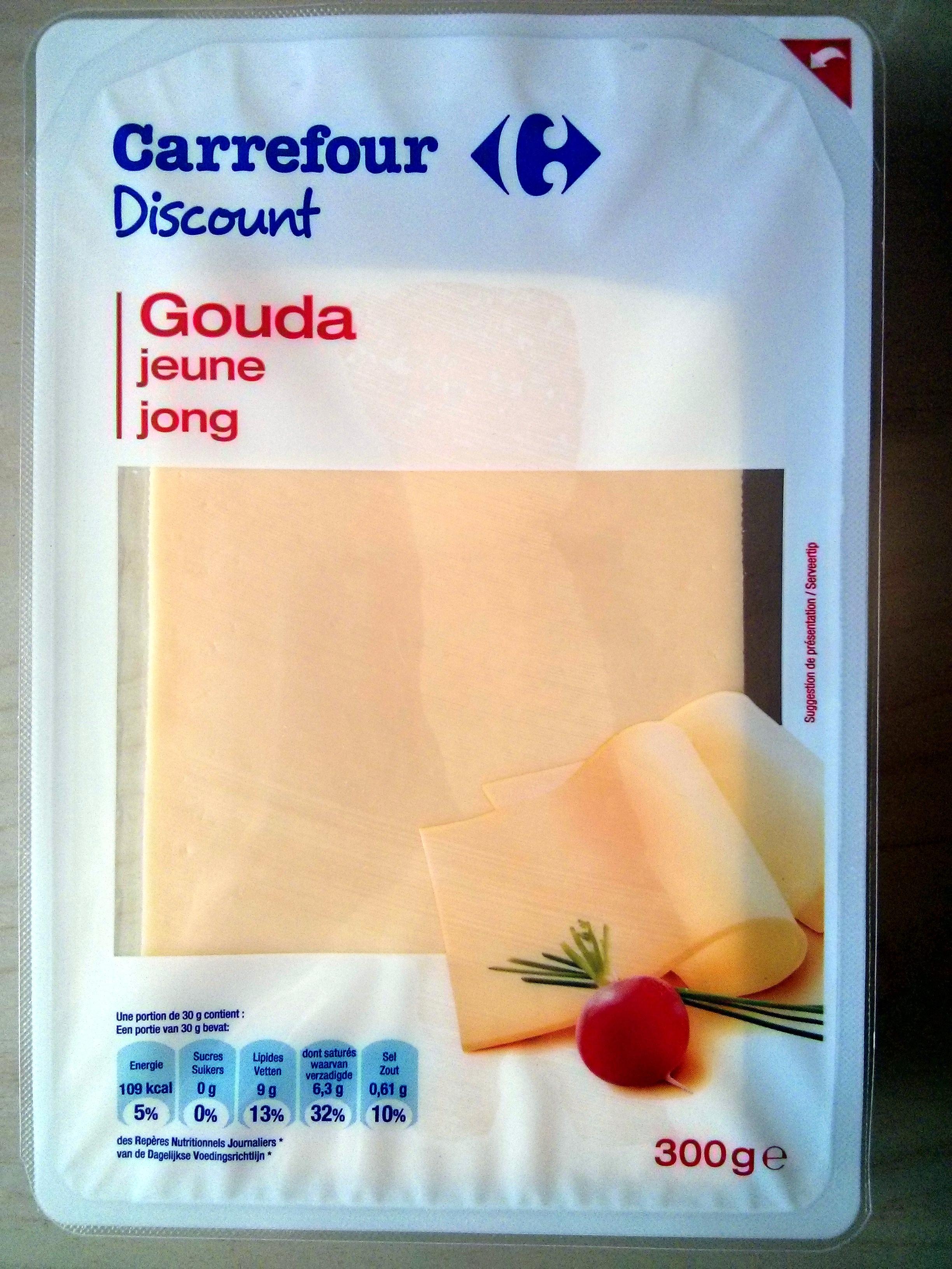 Gouda jeune (30 % MG) en tranches - Product - fr