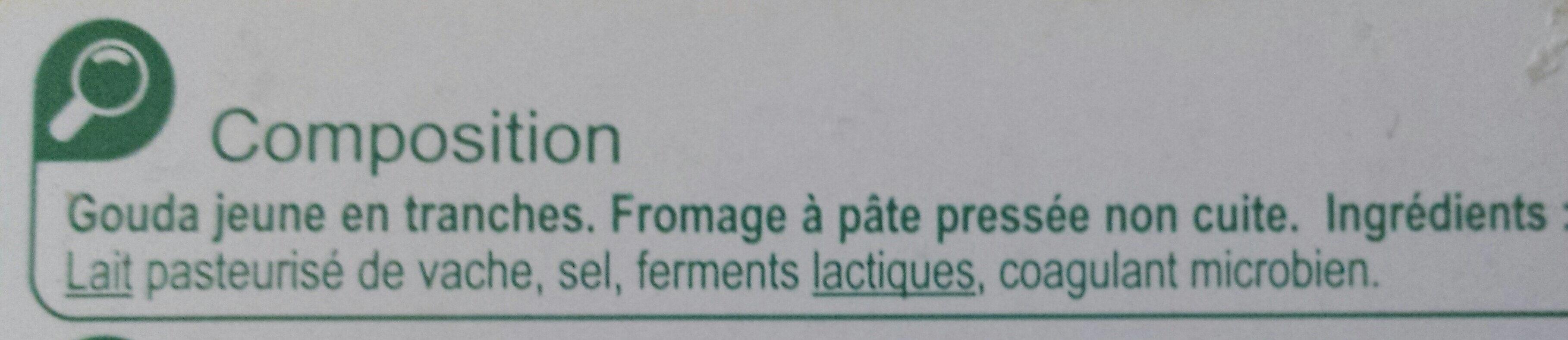 Gouda jeune (30 % MG) en tranches - Ingrediënten - fr